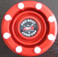 Pro-shot red roller hockey puck