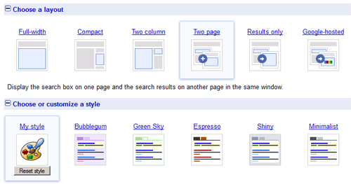 Configuration of Google Custom Search layouts