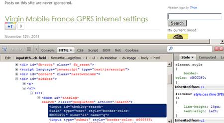 Firebug HTML view