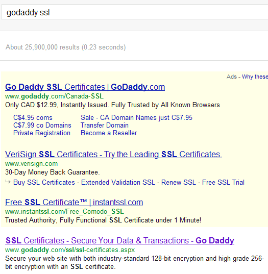 Searching for 'godaddy ssl'