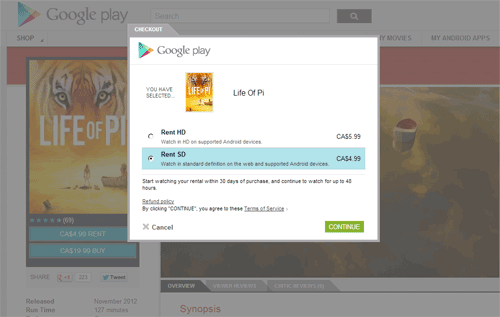 Google Play rental step 1