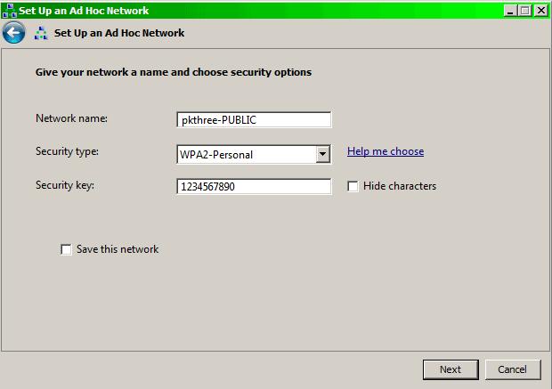 Ad hoc network details