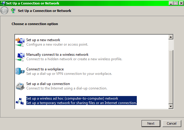 Choose connection option