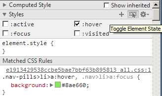 Testing the hover state in Chrome