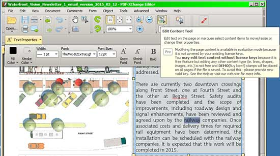 Edit Content Tool in PDF-Xchange Editor