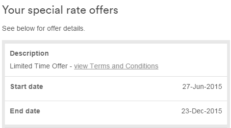 Your special rate offers table