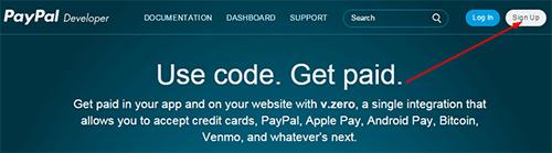 PayPal developer signup link