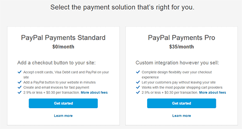 Payment Payments Pro account option