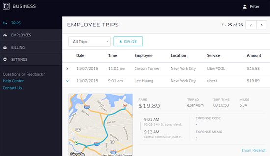 Uber for Business: employee trips report