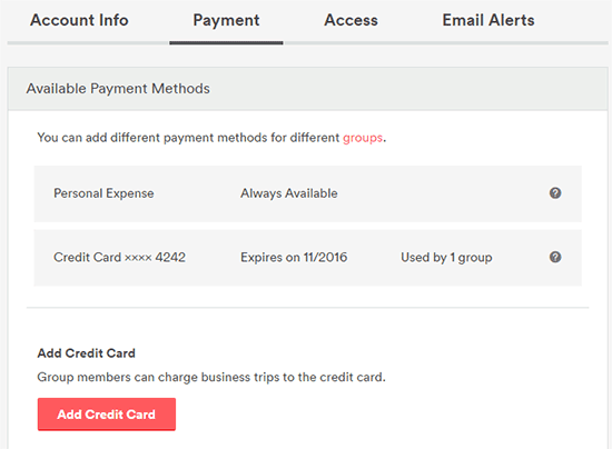 Configure which credit cards can be used by which groups