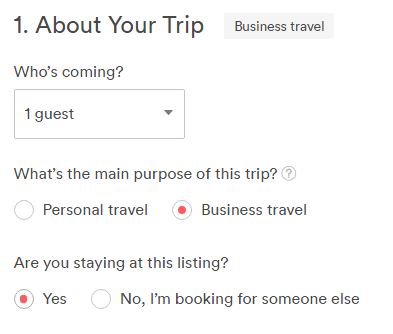 Specify business travel